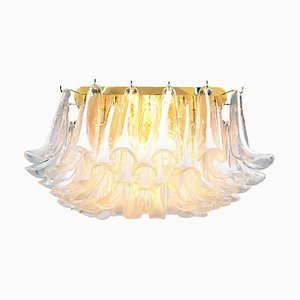 Deckenlampe mit Muranoglasblättern & vergoldetem Messing, Italien, 1970er
