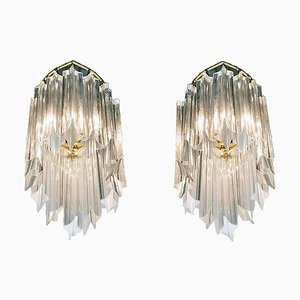 Palwa Wall Sconces in Crystal & Gilt Brass, 1960s, Germany, Set of 2