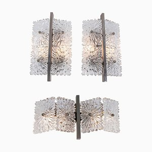 Wall Lights in Faceted Crystal & Nickel, 1960s, Austria, Set of 3