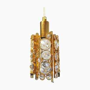 Palwa Small Bubble Chandelier in Crystal Glass & Gilt Brass, 1960s, Germany