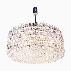Large Chandelier in Crystal & Silver from Lobmeyr / Bakalowits & Sons