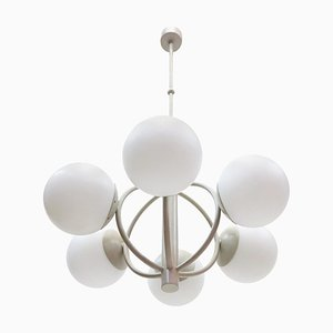 Molecular Satellite Chandelier with 6 White Glass Globes, 1960s, Germany