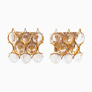 Palwa Wall Sconces in Gold-Plated Brass & Crystal Glass, 1960s, Set of 2