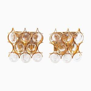 Palwa Wandleuchten aus Vergoldetem Messing & Kristallglas, 1960er, 2er Set
