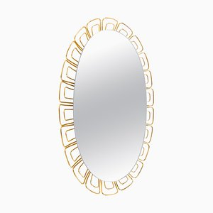 Oval Backlit Mirror in Glass & Brass, 1950s, Germany