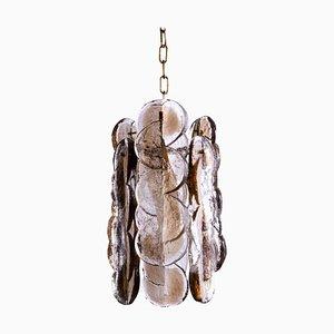 Swirl Citrus Pendant Lamp in Amber Murano Glass & Brass, 1960s