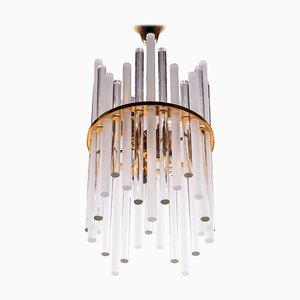 German Chandelier with Glass Rods & Brass from Palwa, 1960s