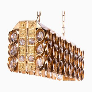 German Chandelier in Crystal & Gilt Brass by Christoph Palme for Palwa, 1960s