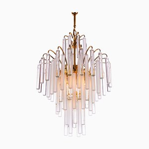 German Chandelier with Crystal Rods & Gilt Brass by Christoph Palme for Palwa, 1960s