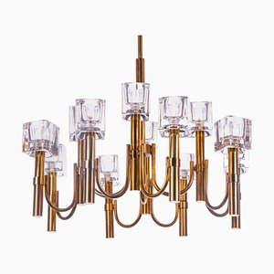 Italian Modernist Cubic 12-Light Chandelier in Glass & Brass by Gaetano Sciolari, 1970s