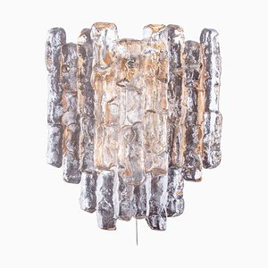Austrian Wall Sconce in Frosted Glass & Golden Nickel from Kalmar, 1960s