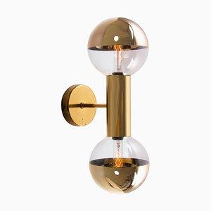 Golden Sputnik Wall Sconce in Glass & Brass by Motoko Ishii for Staff, Germany, 1970s