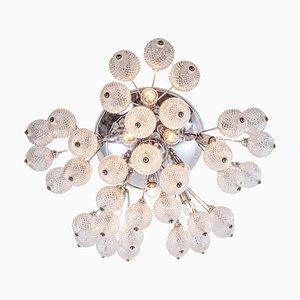 Large Italian Starburst Flush Mount Ceiling Lamp in Bubble Glass & Chrome, 1960s