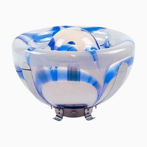 Italienische Tulip Tischlampe aus Blauem Murano Glas & Chrom von Mazzega, 1970er