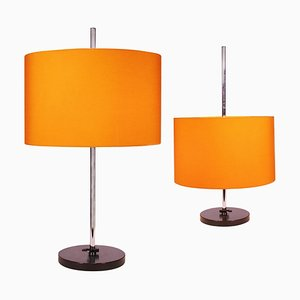 Adjustable Table Lamps in Orange from Staff Leuchten, Germany, 1960s, Set of 2