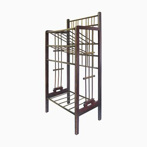 Viennese Secession Mahogany and Brass Magazine Stand, 1900s