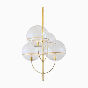 Large Brass Lyndon Ceiling Light by Vico Magistretti for Oluce, 1977