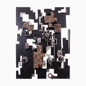 Mid-Century Brutalist Abstract Wall Sculpture in Brass & Metal by Grunau