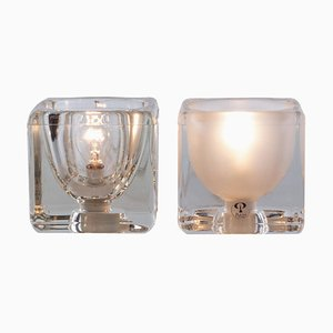 Iced Glass Cube Table Lamps from Peill & Putzler, 1970s, Set of 2