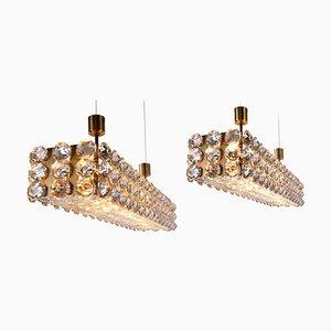 Große Deckenlampe aus Kristallglas & Messing von Lobmeyr / Bakalowits & Sons, Wien