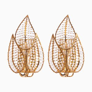 German Wall Sconces in Crystal & Gilt Brass from Palwa, 1960s, Set of 2