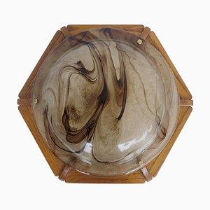 Large Flush Mount in Amber Murano Glass from Kaiser, 1960s
