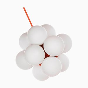 Sputnik Glaskugel Kronleuchter in Weiß & Orange von Kaiser, 1960er