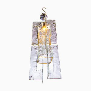 Italian Pendant Lamp in Iced Murano Glass & Chrome by Carlo Nason for Mazzega, 1960s