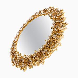 German Gilded Backlit Mirror in Swarovski Crystals & Brass from Palwa, 1960s