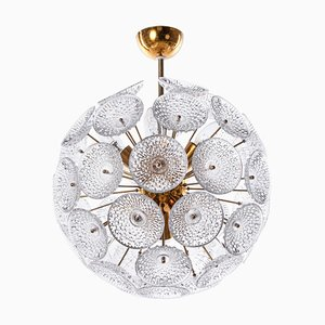 Modernist 10-Light Dandelion Sputnik Pendant in Glass & Brass, 1960s