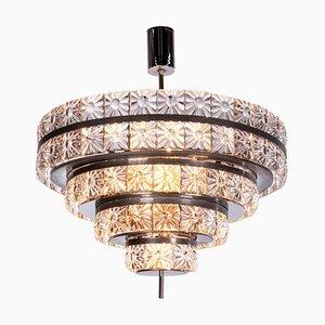 Schwedischer 18-Leuchten Kronleuchter aus Kristallglas & Nickel von Carl Fagerlund für Orrefors, 1960er