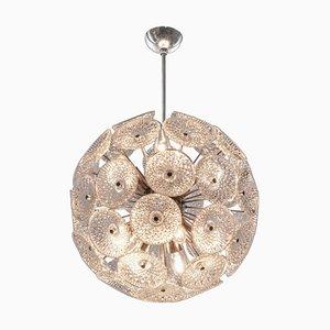 Modernist 10-Light Dandelion Sputnik Chandelier in Glass & Chrome, 1960s