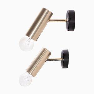 Minimalistische Verstellbare Messing Wandlampen aus Messing von RZB, 1960er, 2er Set