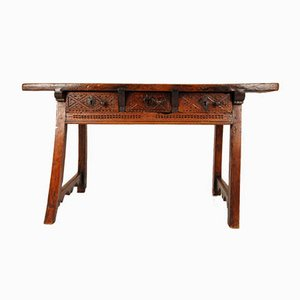 Antique Spanish Renaissance Console Table or Writing Desk with Three Drawers, 17th Century