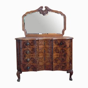 Rounded Dresser with Rooted Mirror, 1940s, Set of 2