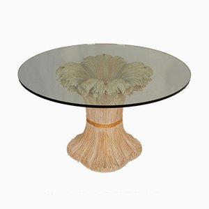 Italienischer Mid-Century Hollywood Regency Weizenbündel Tisch aus geschnitztem Holz von Chelini