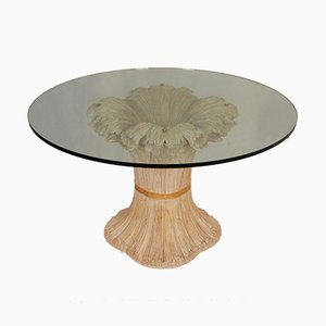 Mid-Century Italian Hollywood Regency Wheat Sheaf Table in Carved Wood by Chelini