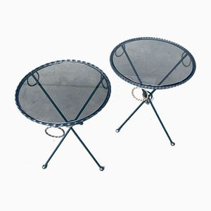 Regency Style Wrought Iron Side Tables, France, 1950s, Set of 2