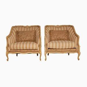 Übergroße Mid-Century Bergere Armlehnstühle aus geschnitztem Holz im Louis XV Stil von Henredon, 2er Set