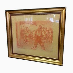 Antike Rote Kreidezeichnung von Piraten auf einem Schiff