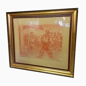 Antique Red Chalk Drawing of Pirates on a Ship