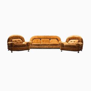 Poltrone e divano vintage di velluto in metallo, anni '70, set di 3