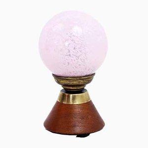 Mood Light in Teak & Pink Clichy Glass