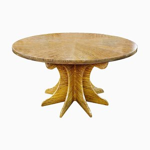 Round Golden Yellow Travertine Table
