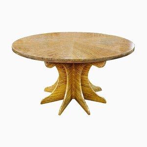 Table Ronde Dorée en Travertin Jaune