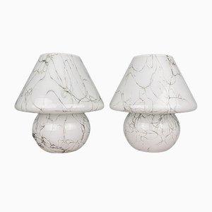 Murano Mushroom Table Lamps, Italy, 1970s, Set of 2
