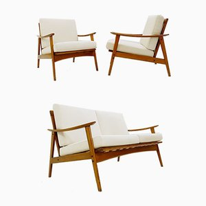 Scandinavian Seating Set with New Upholstery, Set of 3