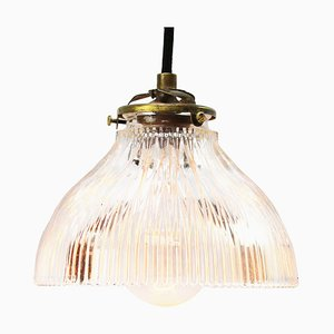 Industrial Clear Ribbed Glass Pendant Lamp from Holophane