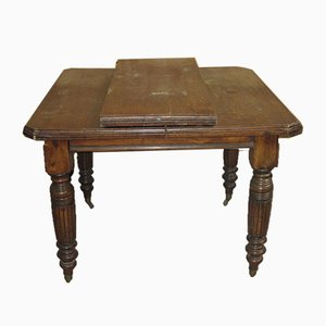 English Square Table with Crank Extension, 1890s