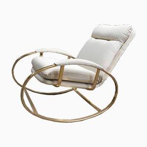 Mid-Century Modern Italian Gilt Metal Rocking Chair with Original Fabric Cushion by Guido Faleschini, 1970s